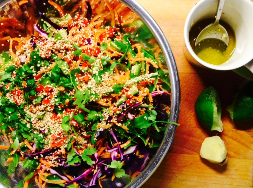 Vegetarian and Vegan Asian Inspired Slaw with Lime and Ginger Dressing