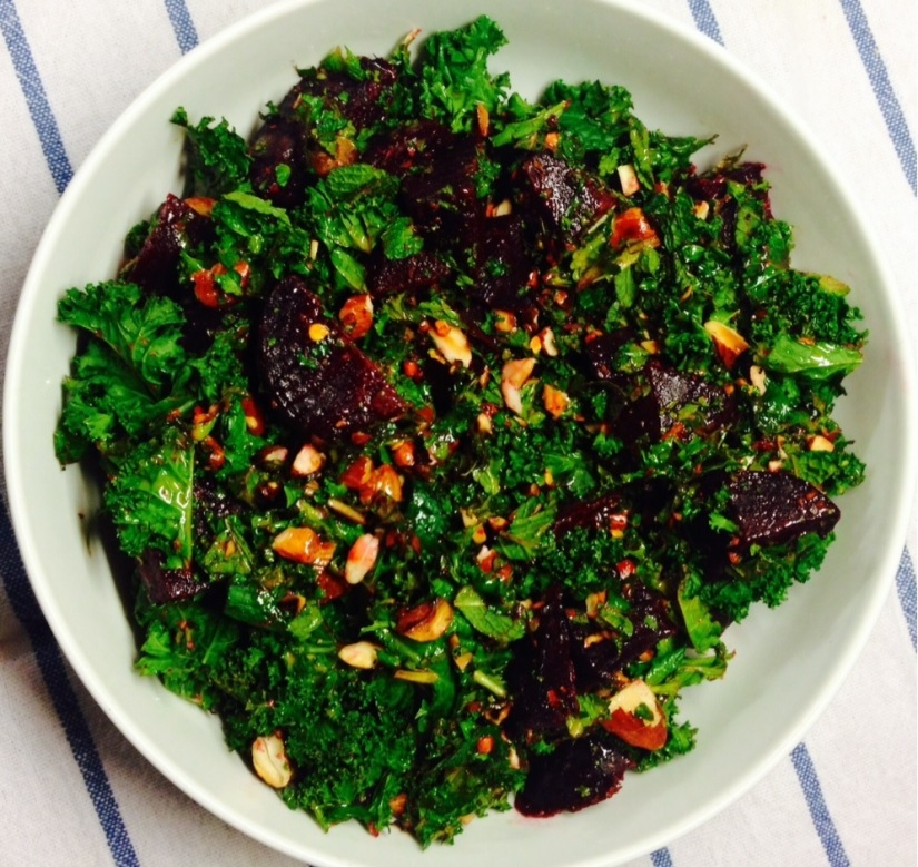 Vegetarian crispy kale salad with steamed beetroot and mint